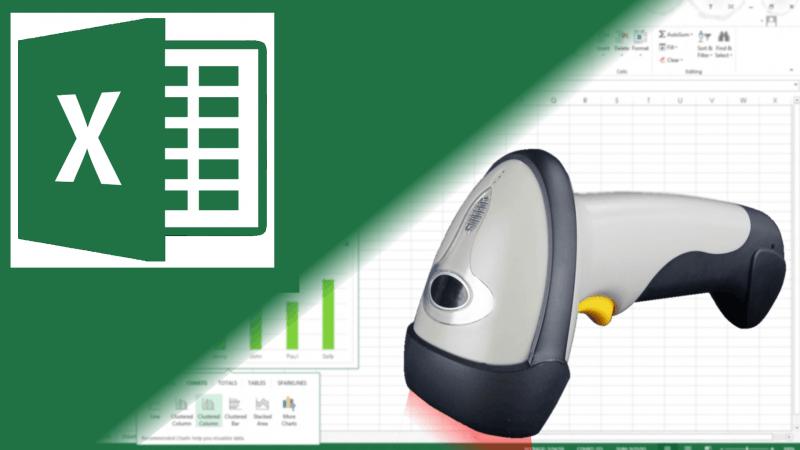 Logotipo de Excel con lector de código de barras