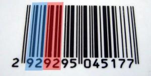 Detalle código de barras con dígitos iguales y barras diferentes