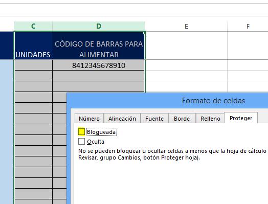 Desbloquear celdas en Excel