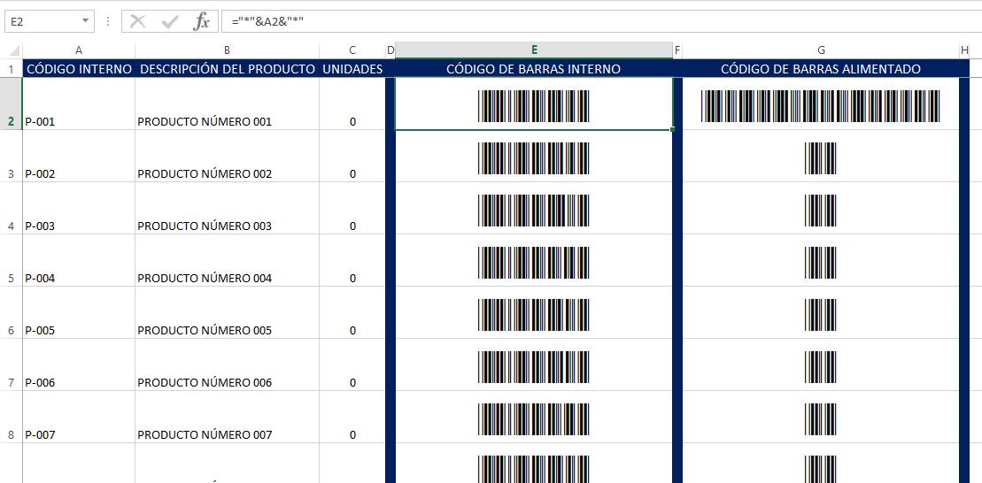 Detalle de la hoja2 Excel