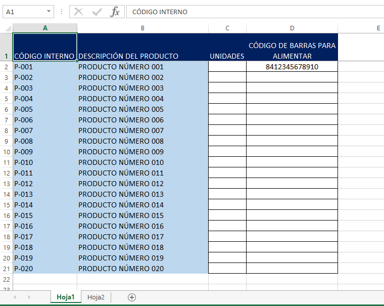 Imagen de ejemplo de la hoja Excel para inventario sin código de barras