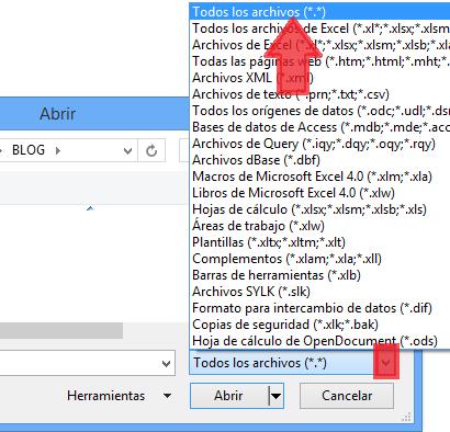 Seleccionar todos los tipos de archivos al abrir un CSV en Excel